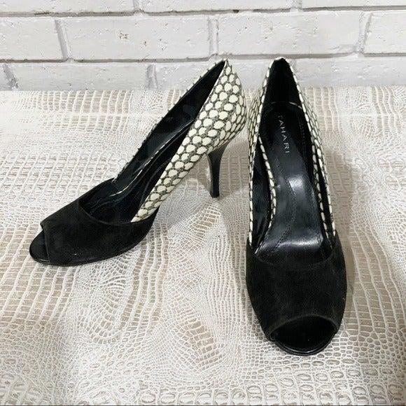 Tahari Women's Black leather Lyra Pumps