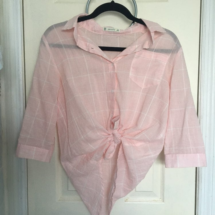 Peackly Pink White Flannel