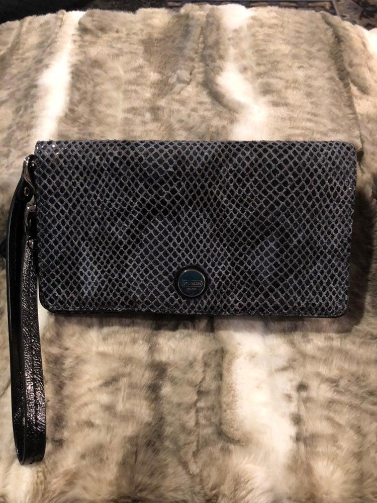 Coach snakeskin slim wallet gray