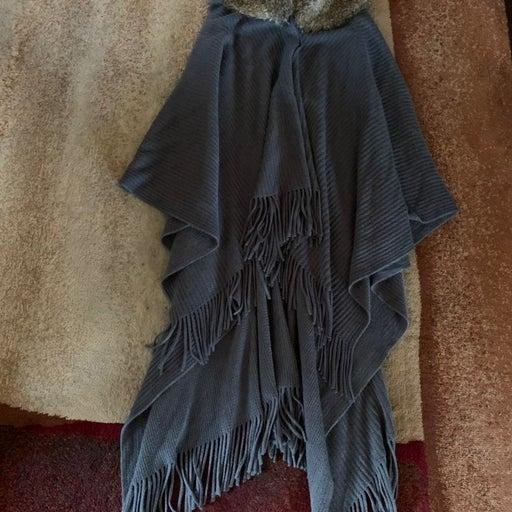 Croft Barrow Faux Fur Collar Poncho OS