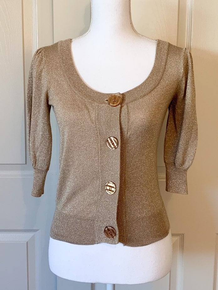 Takeout Sweater Cardigan Gold Size M