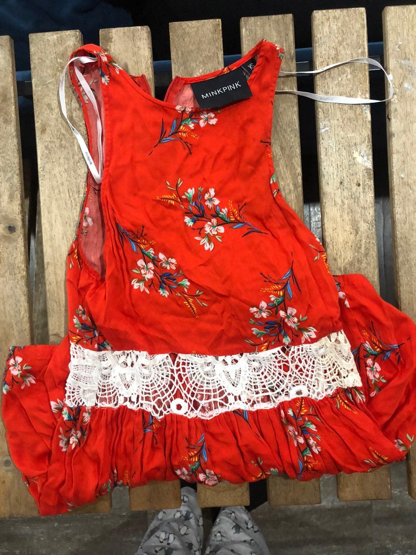 Red floral MinkPink romper