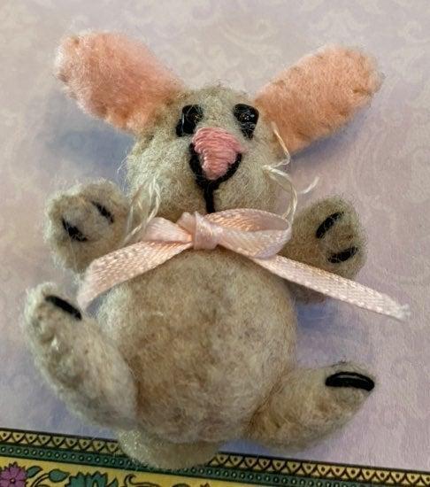 Miniature Vintage Handmade Felt Bunny