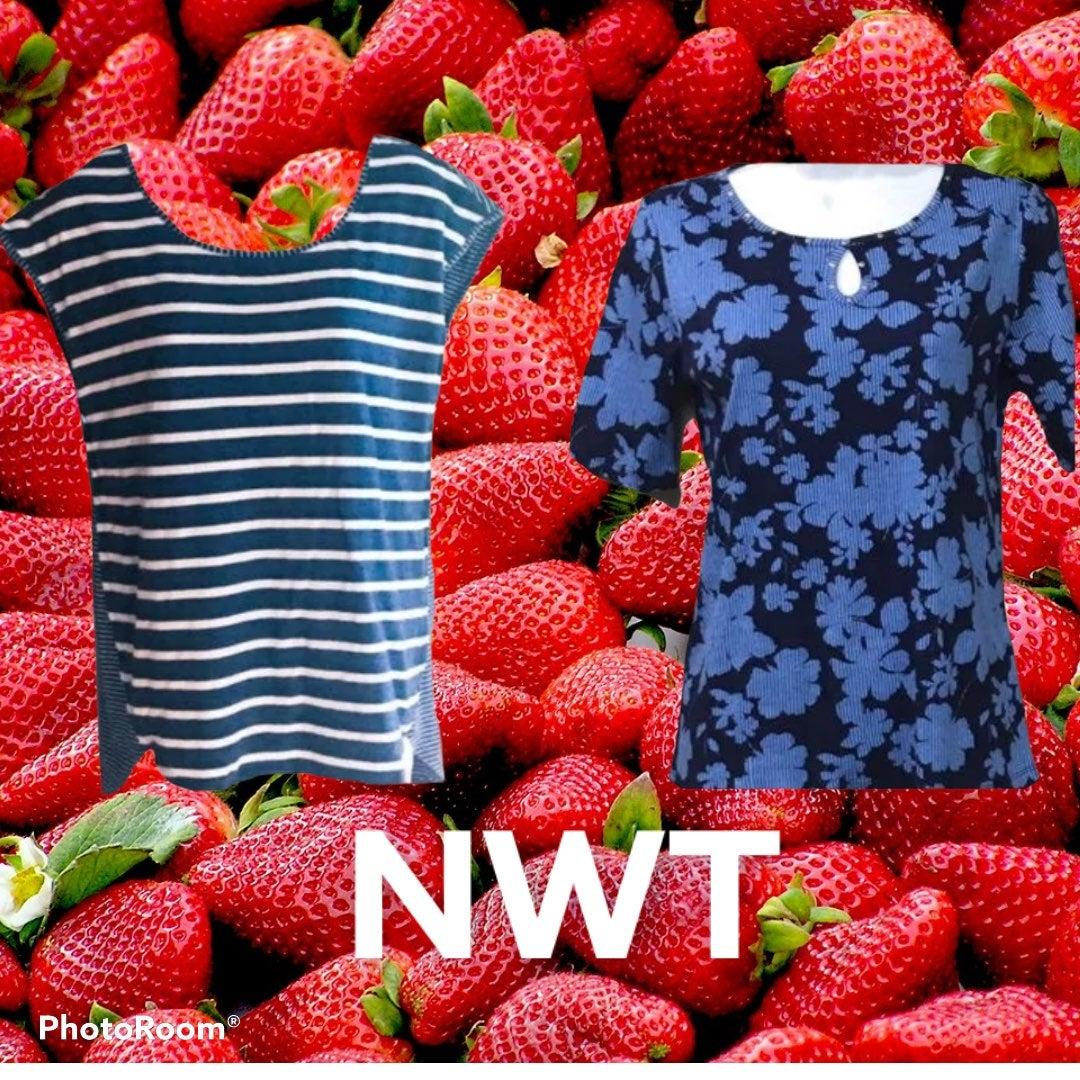 2 Blue NWT Dressy T-shirts, S