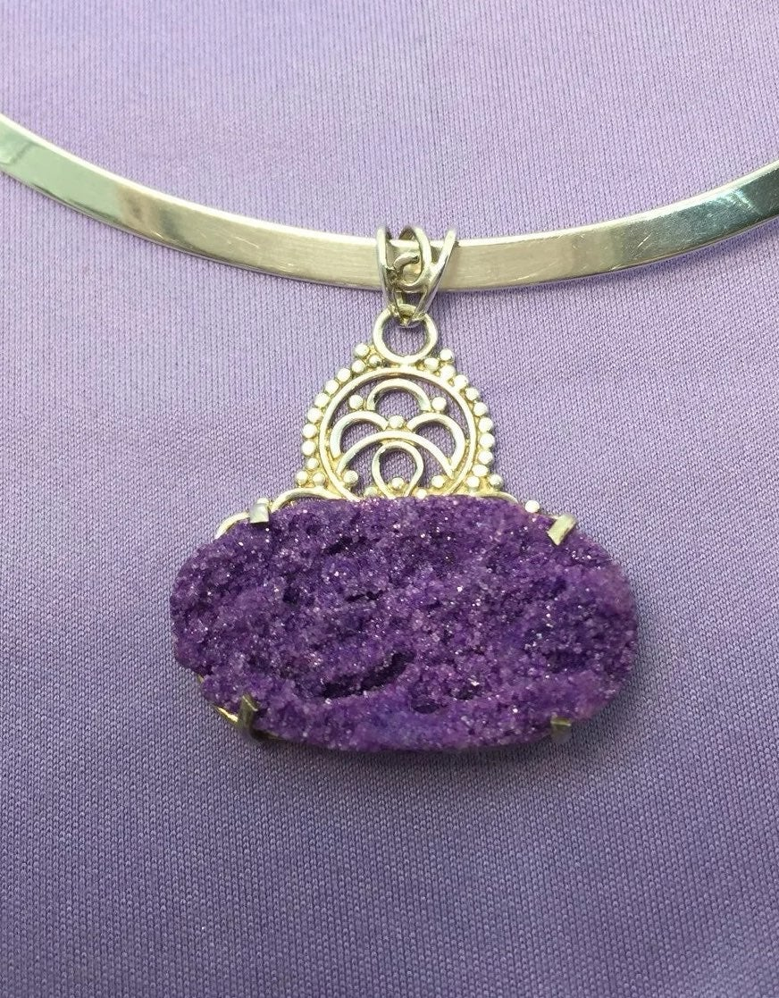 Reduced ! Druzy Sterling silver