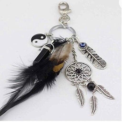Dreamcatcher feather keychain
