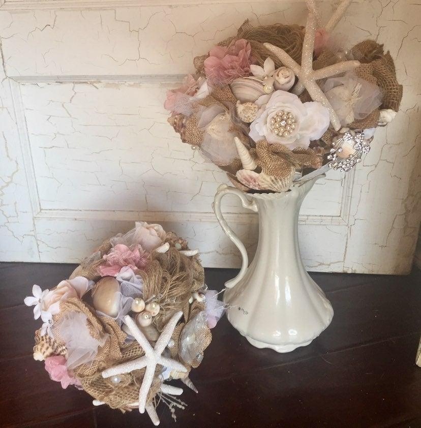 2 Wedding bridal bouquets SEASHELLS Cust
