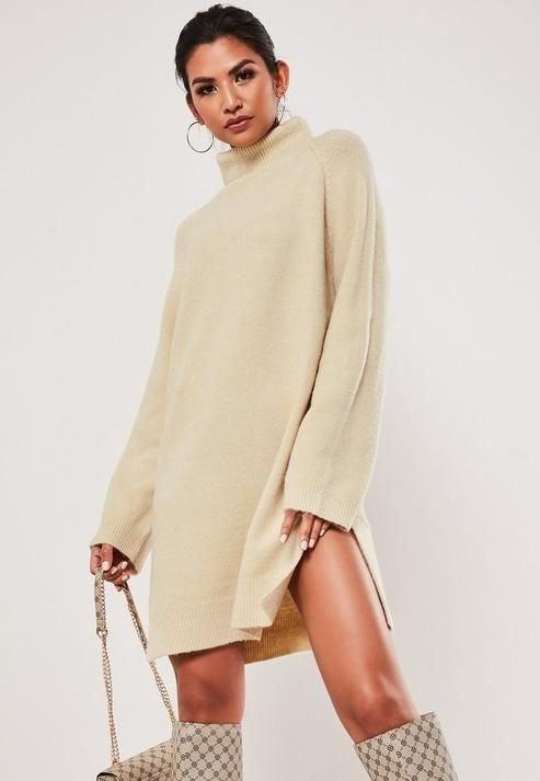 Missguided Roll Neck Side Split Sweater