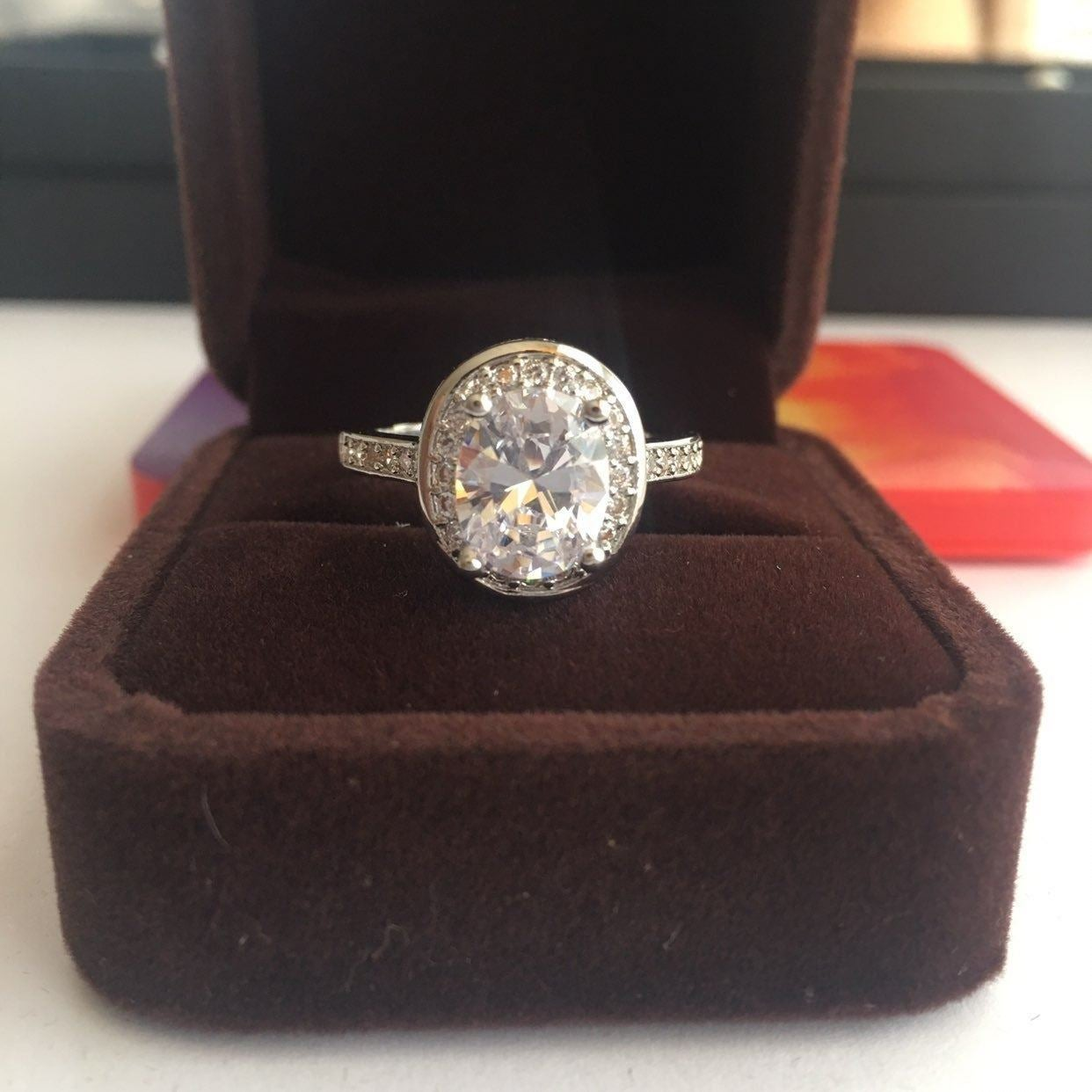 925/18K 3ct OVAL CUT WEDDING RING S9