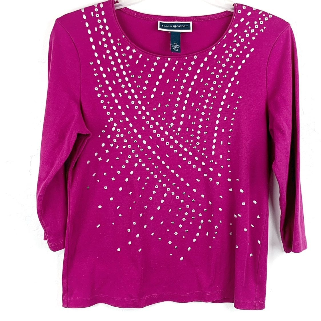 Studded Karen Scott Top in pink