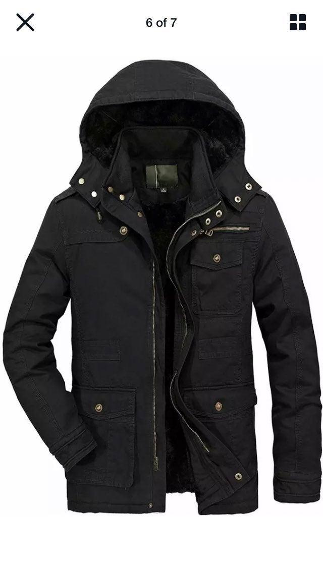 Heihouhua mens winter parka black XL