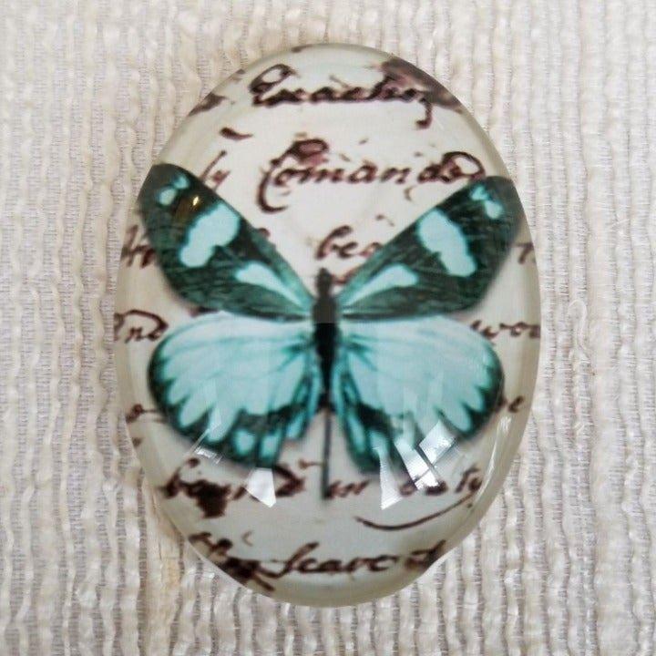 XL Butterfly Script Glass Cabochon 6017