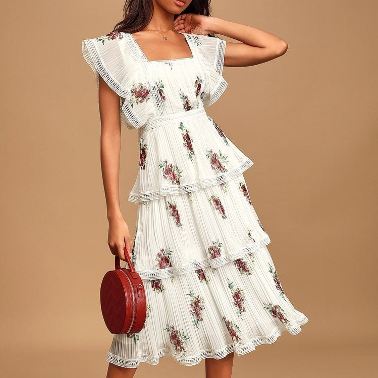 White Floral Low Back Midi Dress