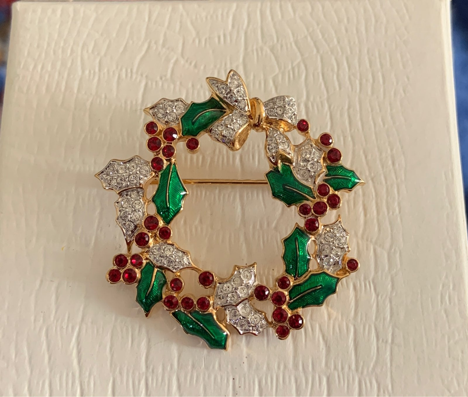 Signed Swarovski Crystal Wreath Brooch
