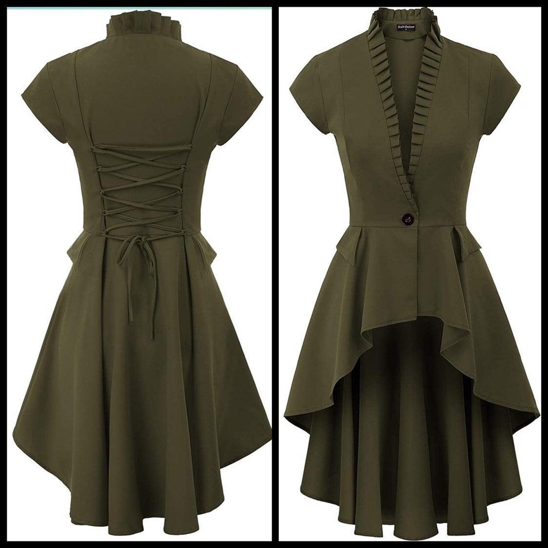 Green steampunk dress jacket/overcoat L