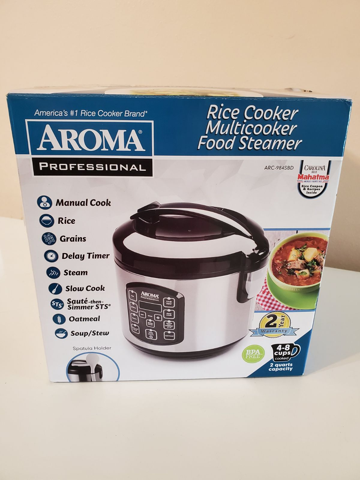 Aroma Rice cooker multi cooker 2 qt