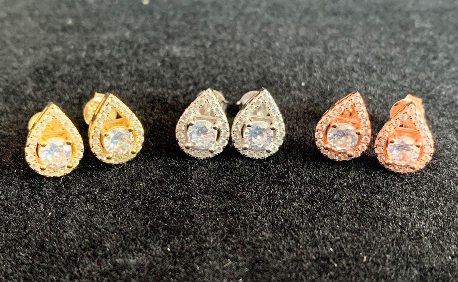 925 Silver Tear Drop Iced Out Earrings
