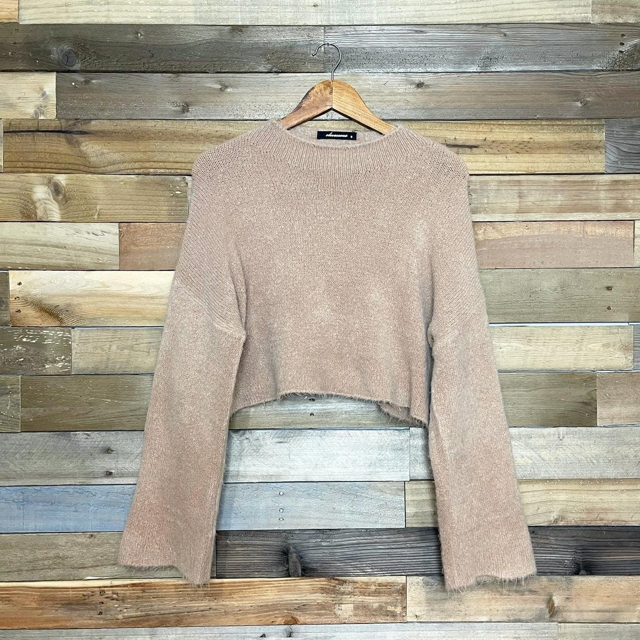 Olivaceous Tan Fuzzy Cropped Sweater