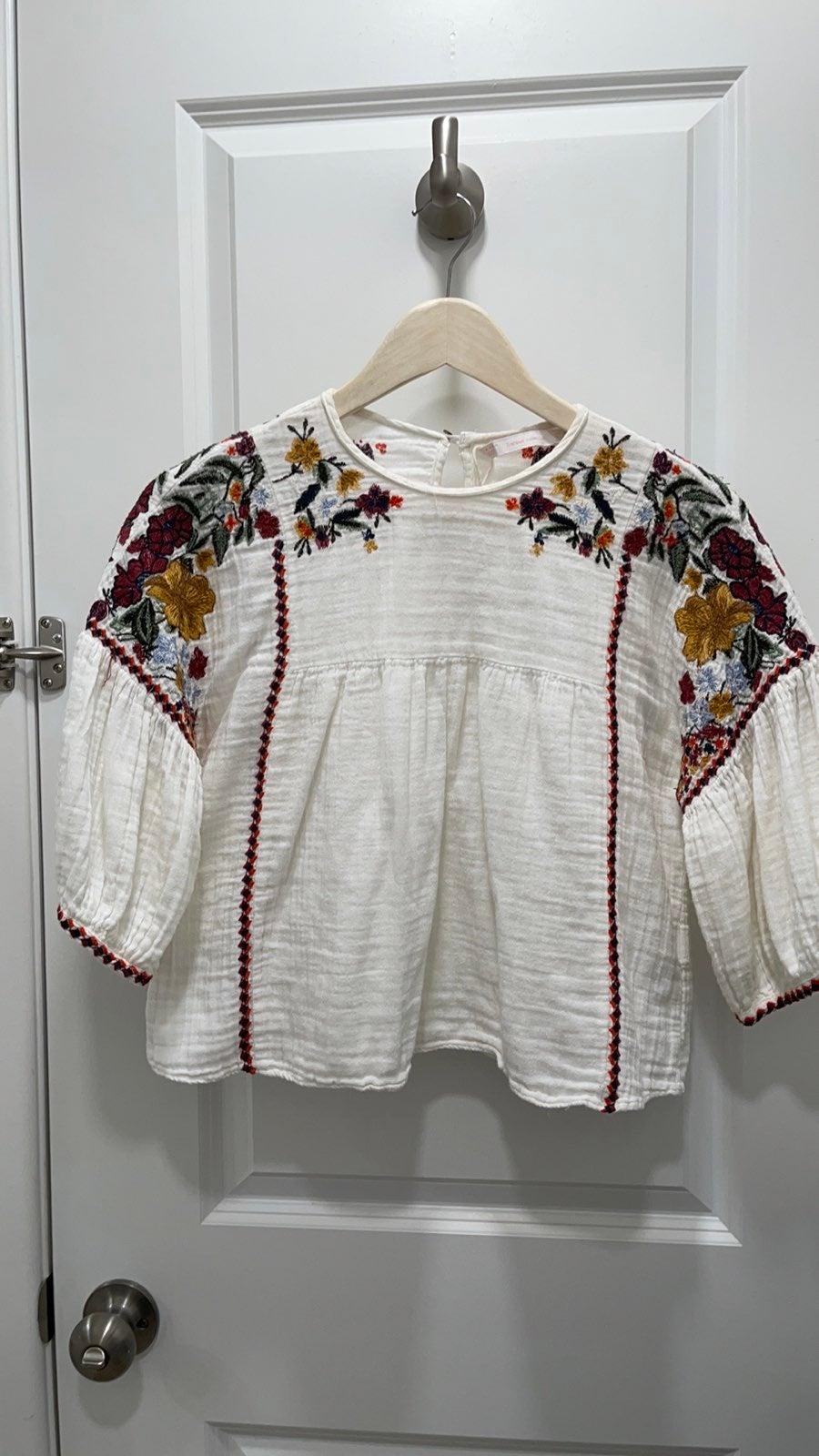 Zara Embroidered Ecru white/cream Floral