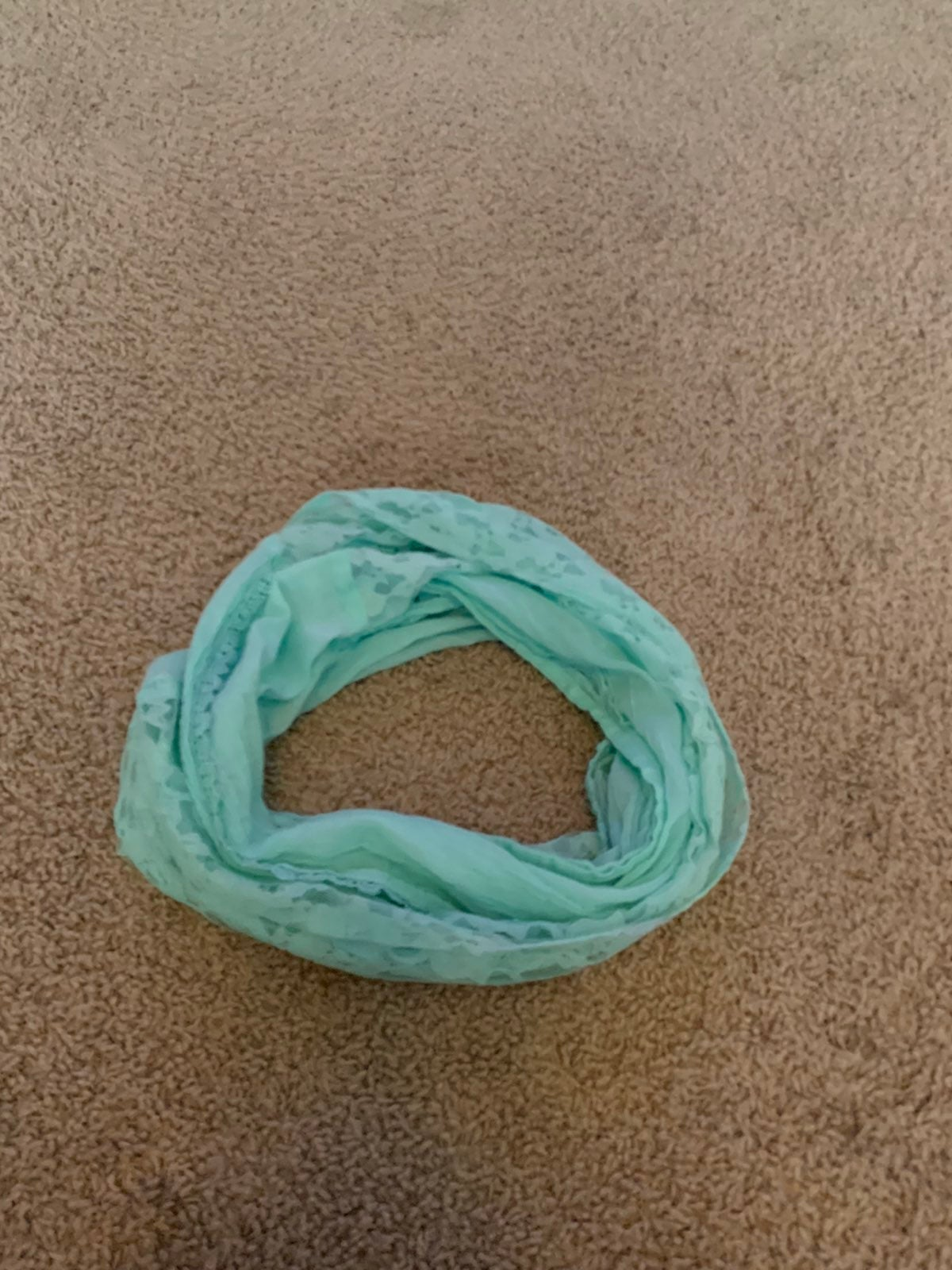Mint green Infinity Scarf lace