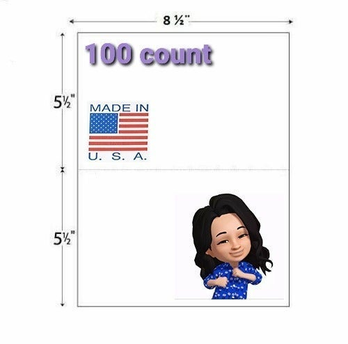 100 count Blank Shipping Label Papers