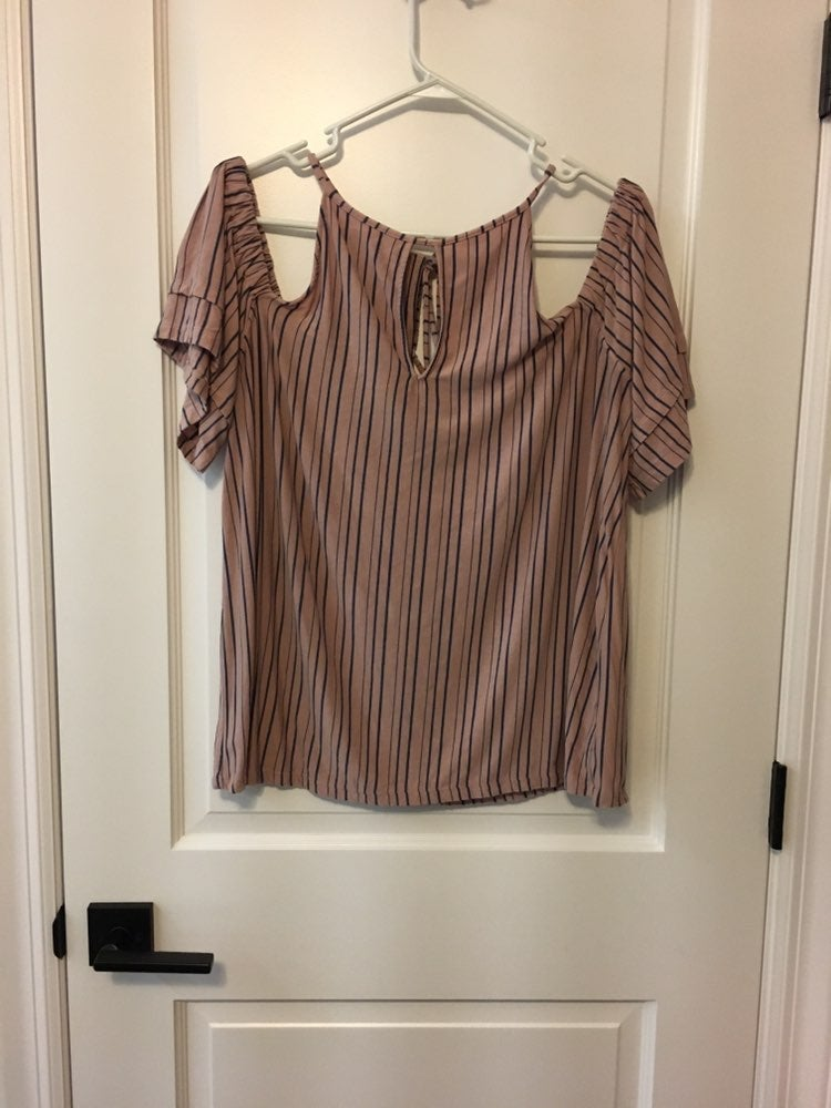 AEO Striped Off The Shoulder Top