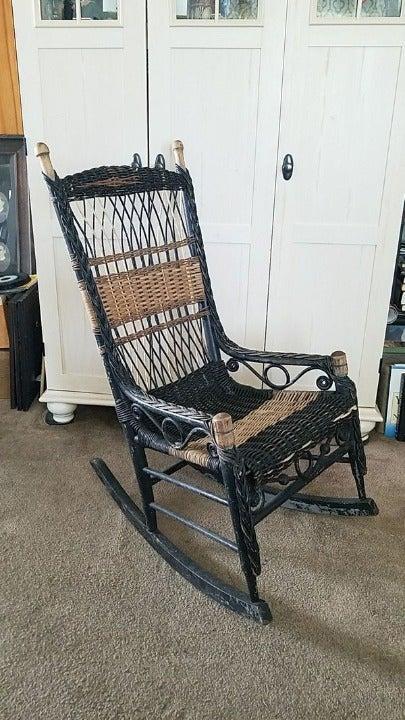Antique Wicker Rocking Chair Vintage Roc