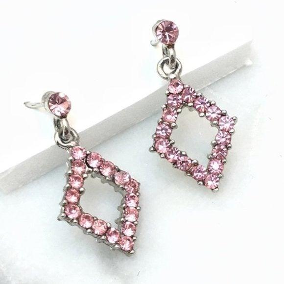 Pink Rhinestone Drop Earrings