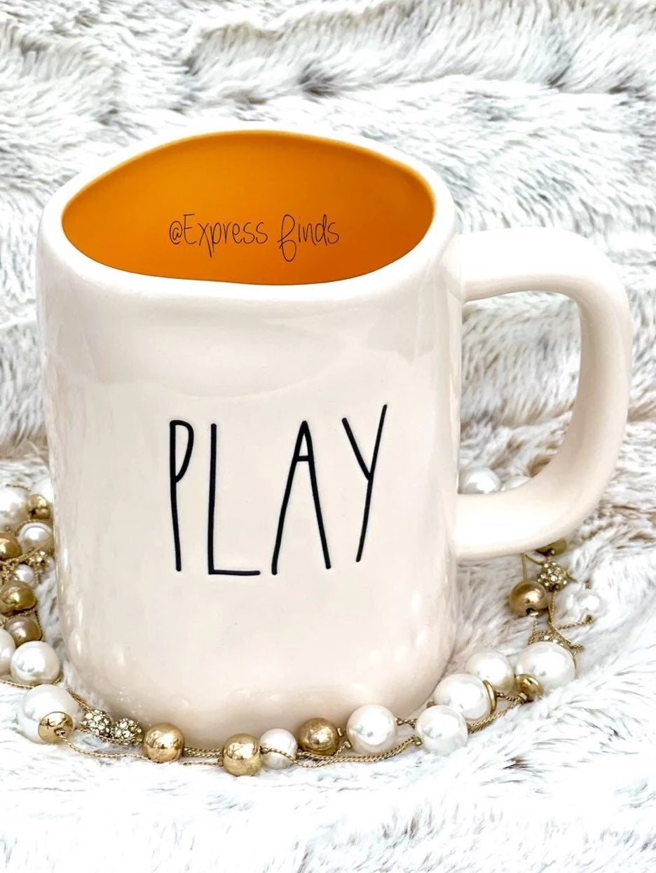 Rae Dunn Play Orange Coffee Mug HTF