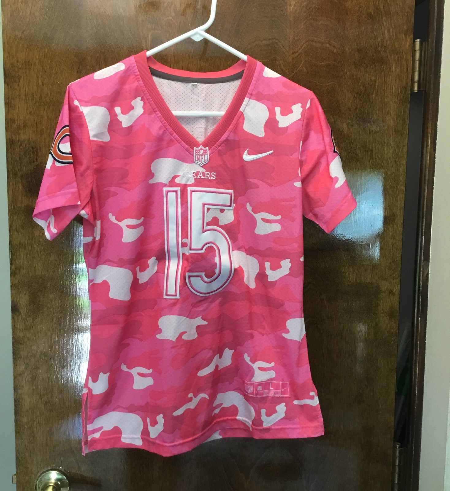 Ladies Pink Camo Chicago Bears Jersey