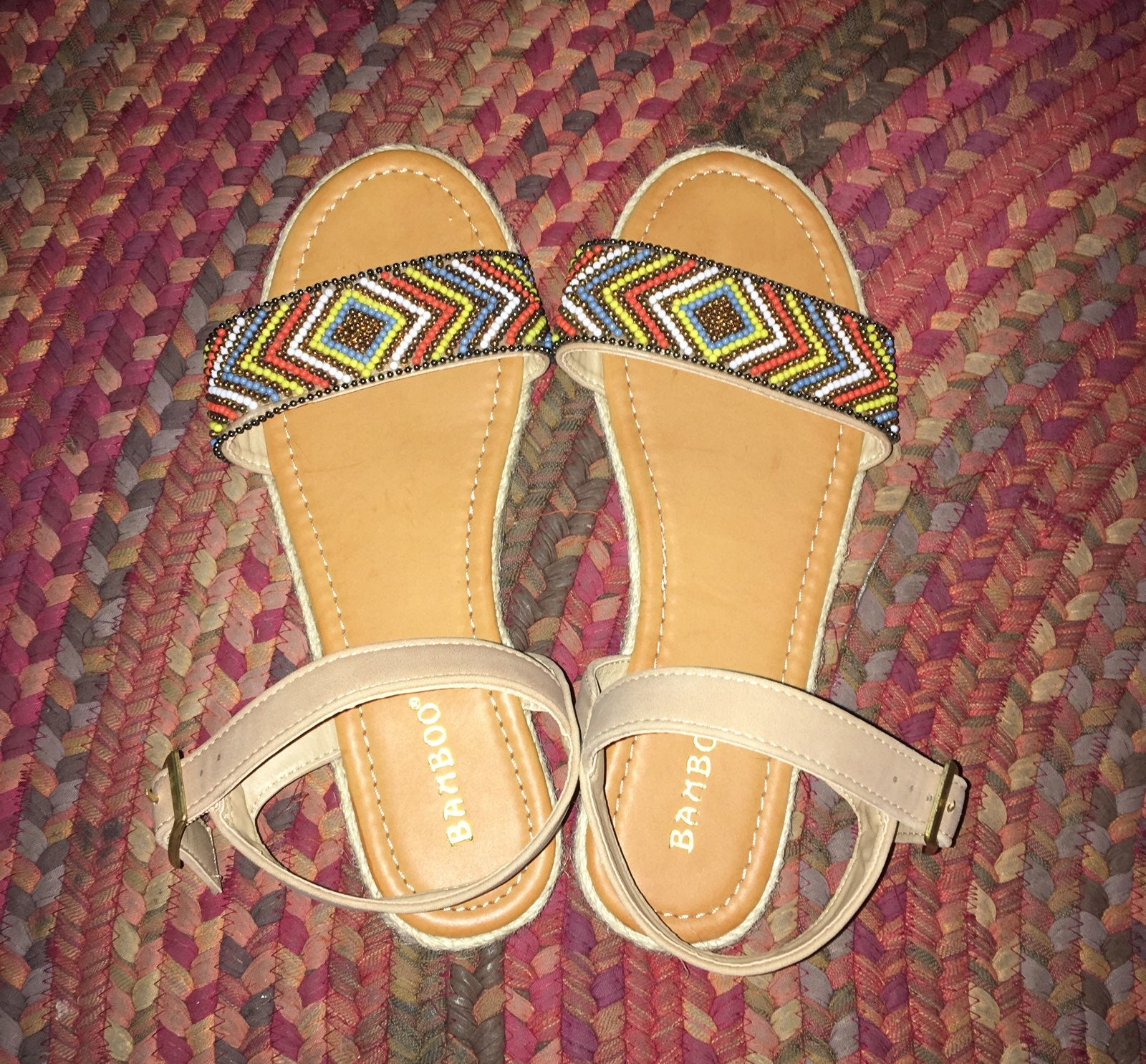 Bamboo Beaded Multicolored Sandals