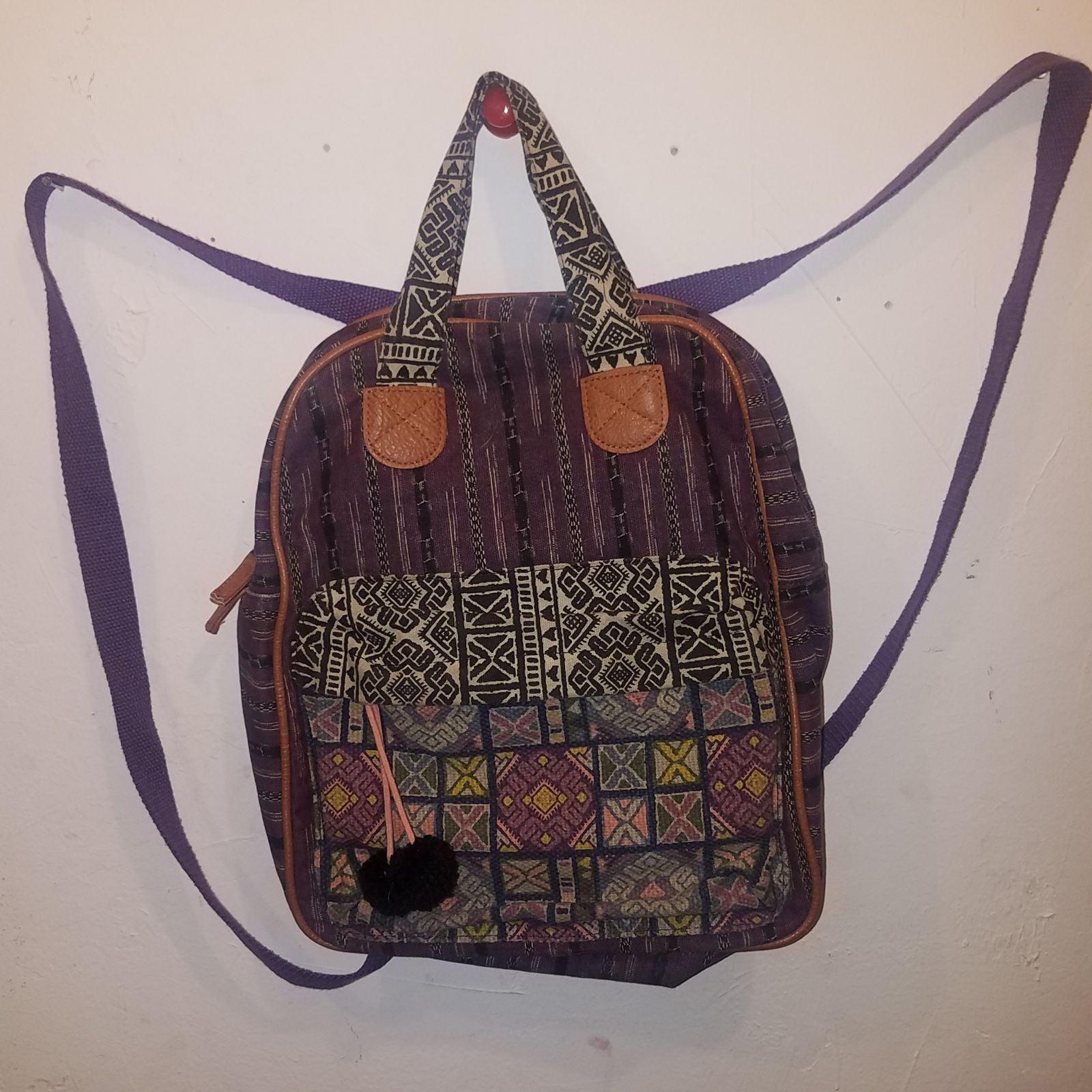 Boho Plum Purple Tribal Backpack Purse