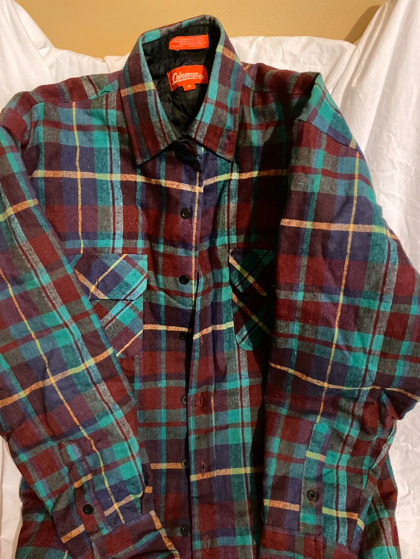 Coleman Flannel Mens VTG Top Size small