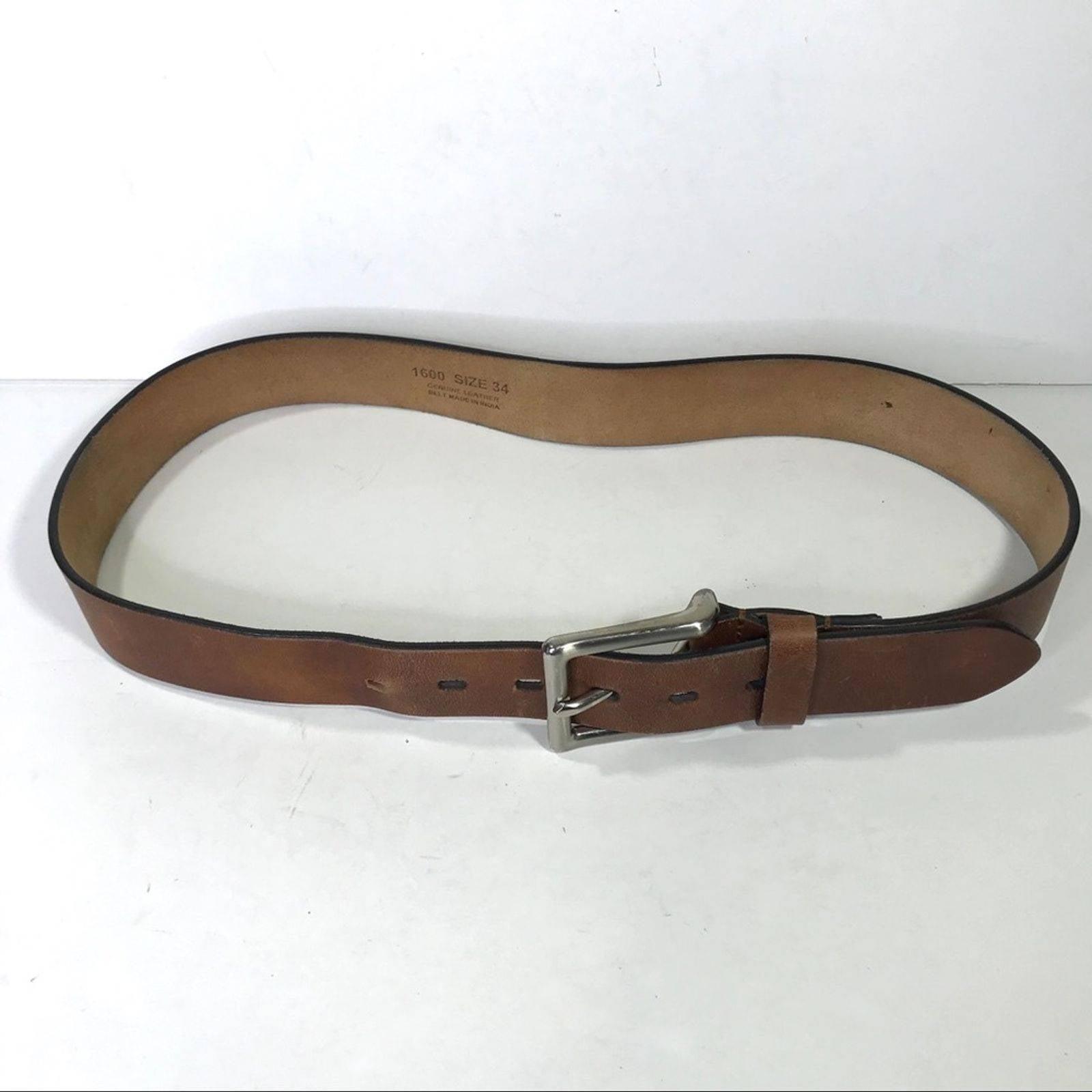 Brown Leather Belt Silver Buckle sz 38