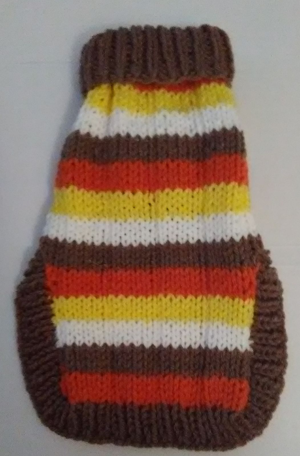 Dog sweater,, handknit, small, multi