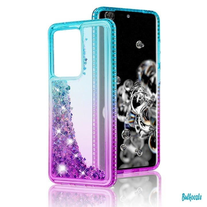 Galaxy S20 Ultra Glitter Clear Case Teal
