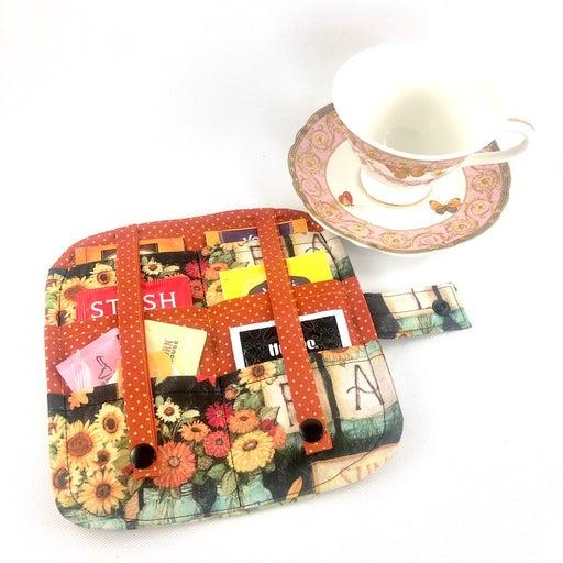 Tea wallet, tea bag wallet, 6- pocket, fall theme