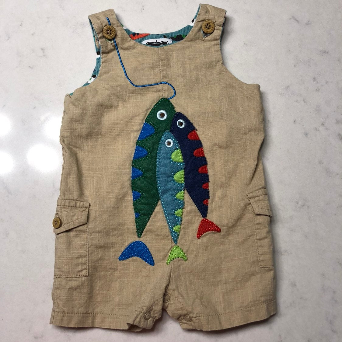Mud Pie 9-12 mo Fish Shortalls / Romper
