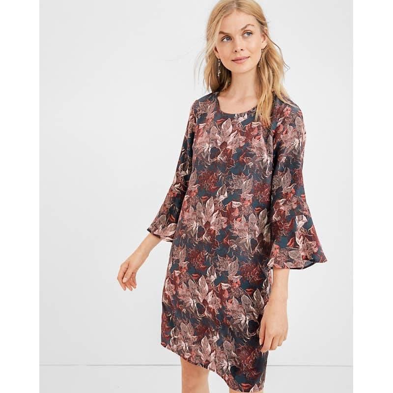 GARNET HILL Bell-Sleeve Silk Dress 16