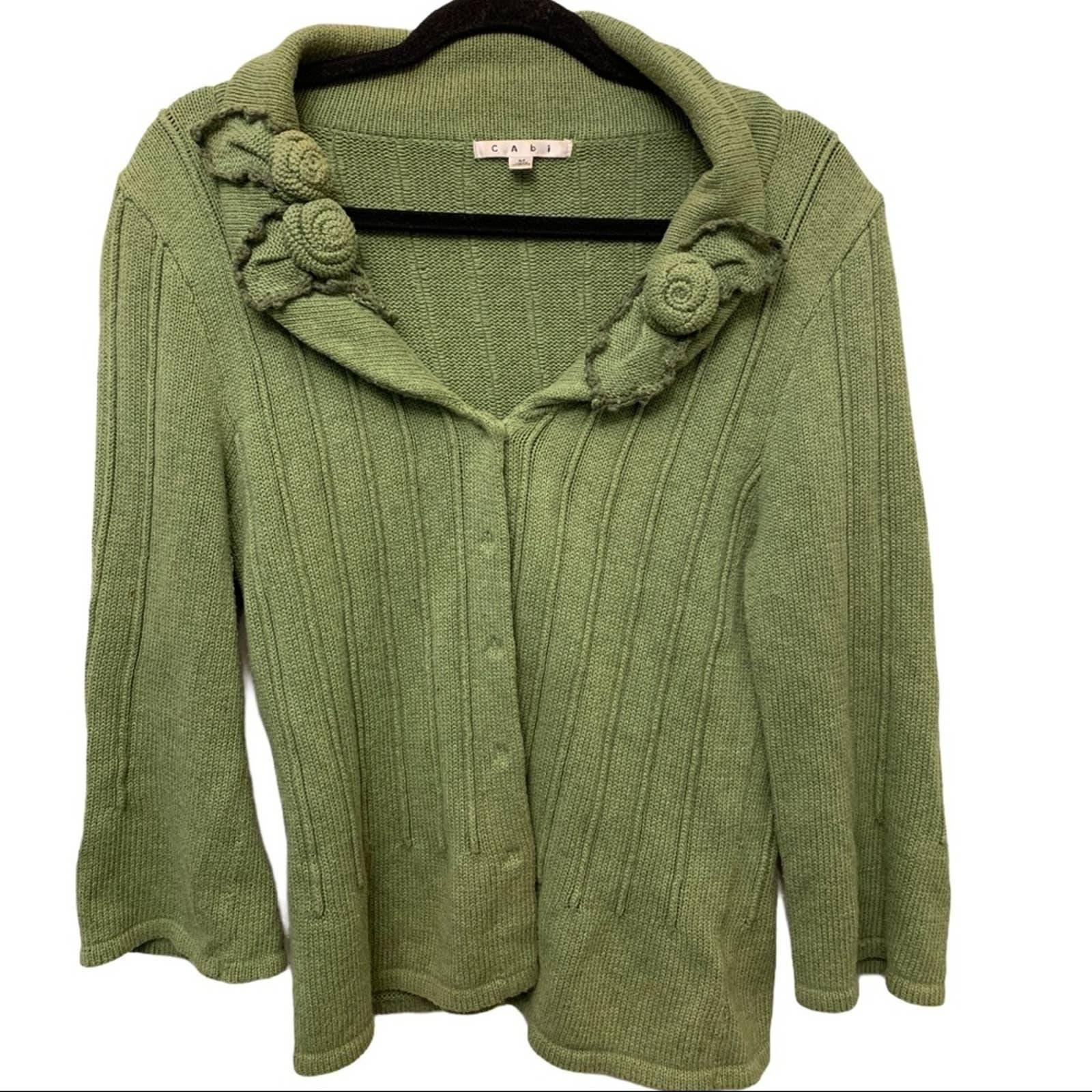 CAbi 100% Cotton Roses Sweater