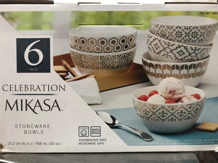 Mikasa Celebration Stoneware Bowls 6 PC