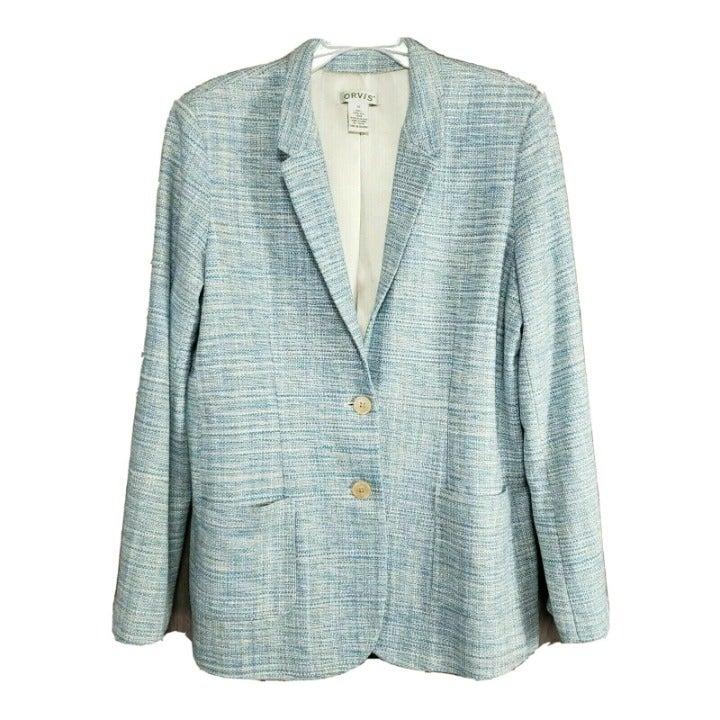 Orvis Sea Mist Silk Tweed Sz 12 Blazer L