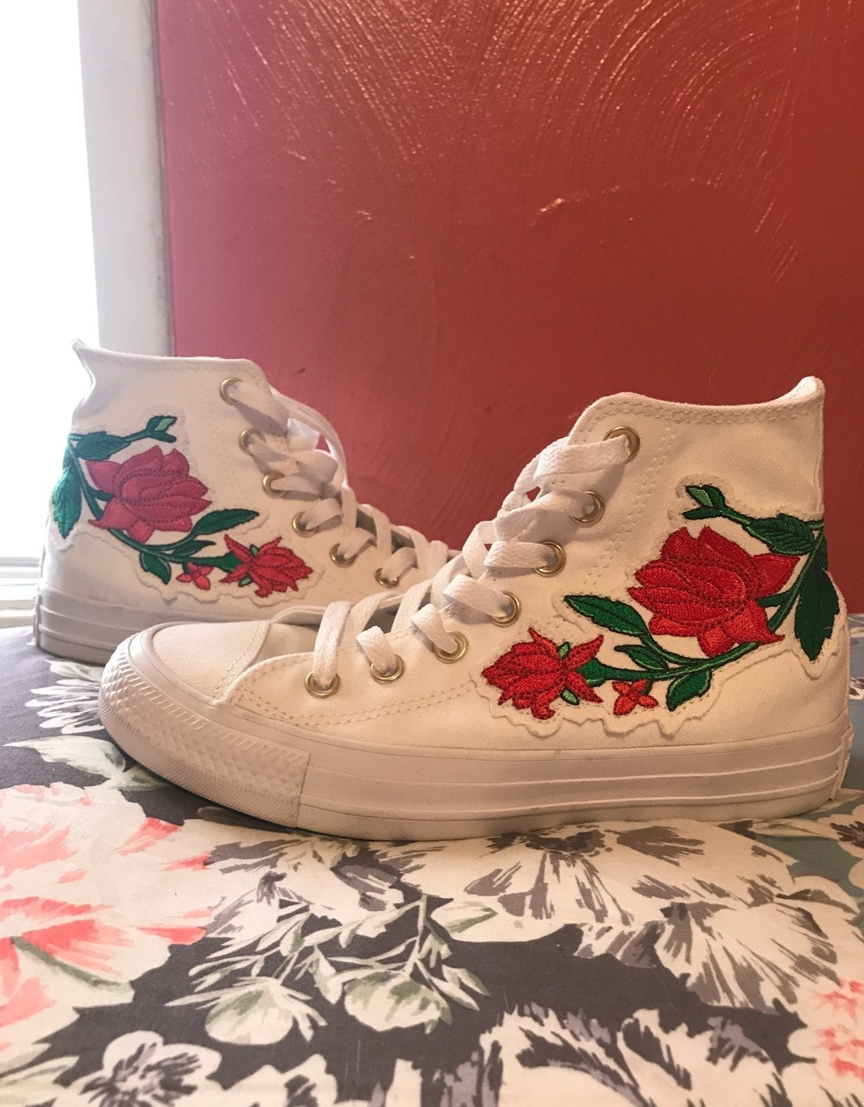 White Converse with Red Rose