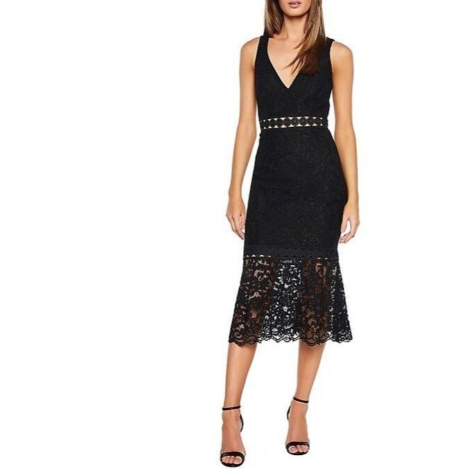 BARDOT Fiona Trumpet Lace Dress Black XS