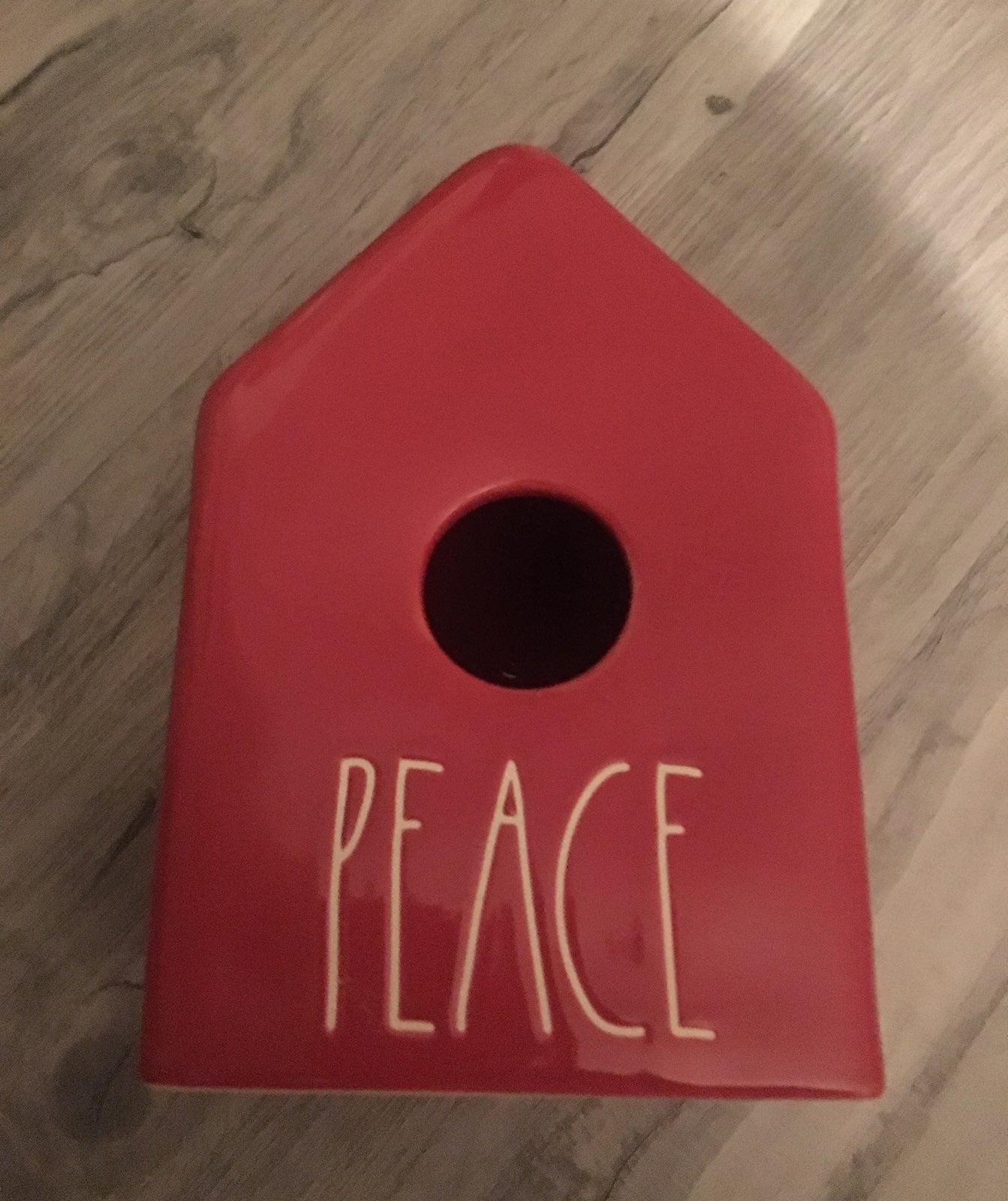Rae Dunn Red Peace Christmas Birdhouse