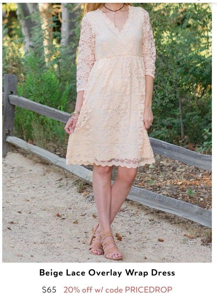 Pink Blush Cream Lace Maternity Dress