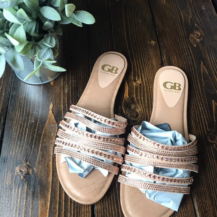Gianni Bini Multi Strap Slip On Sandals