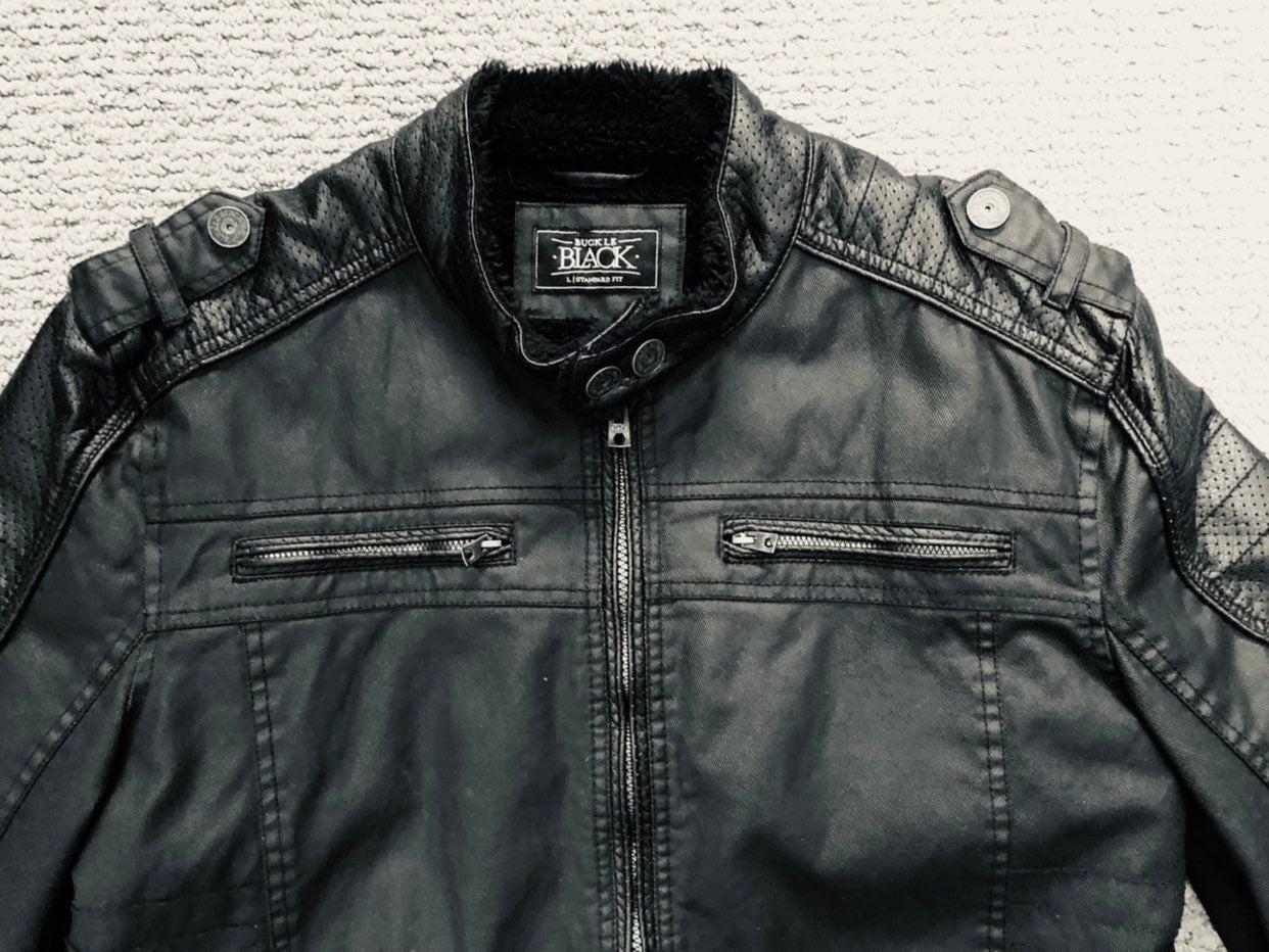 Buckle Mens L Faux Leather Biker Jacket