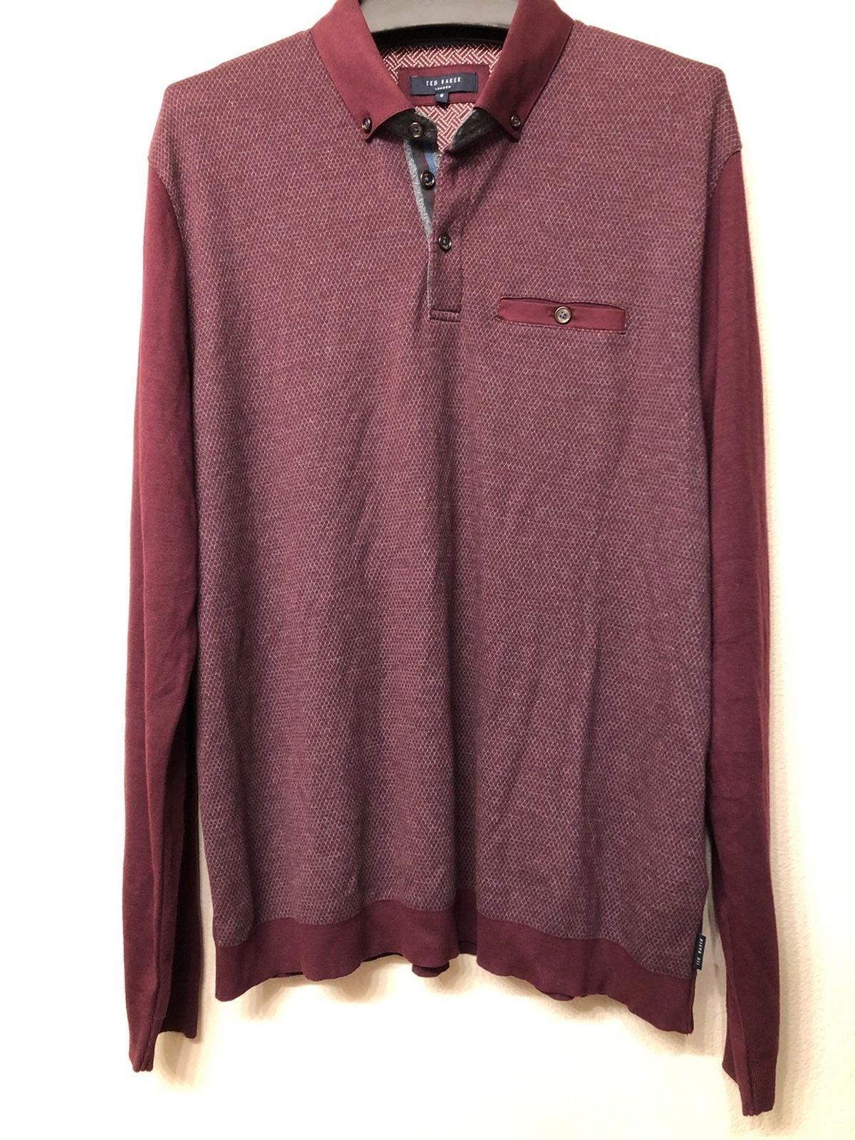 ted baker london polo size 6 maroon red