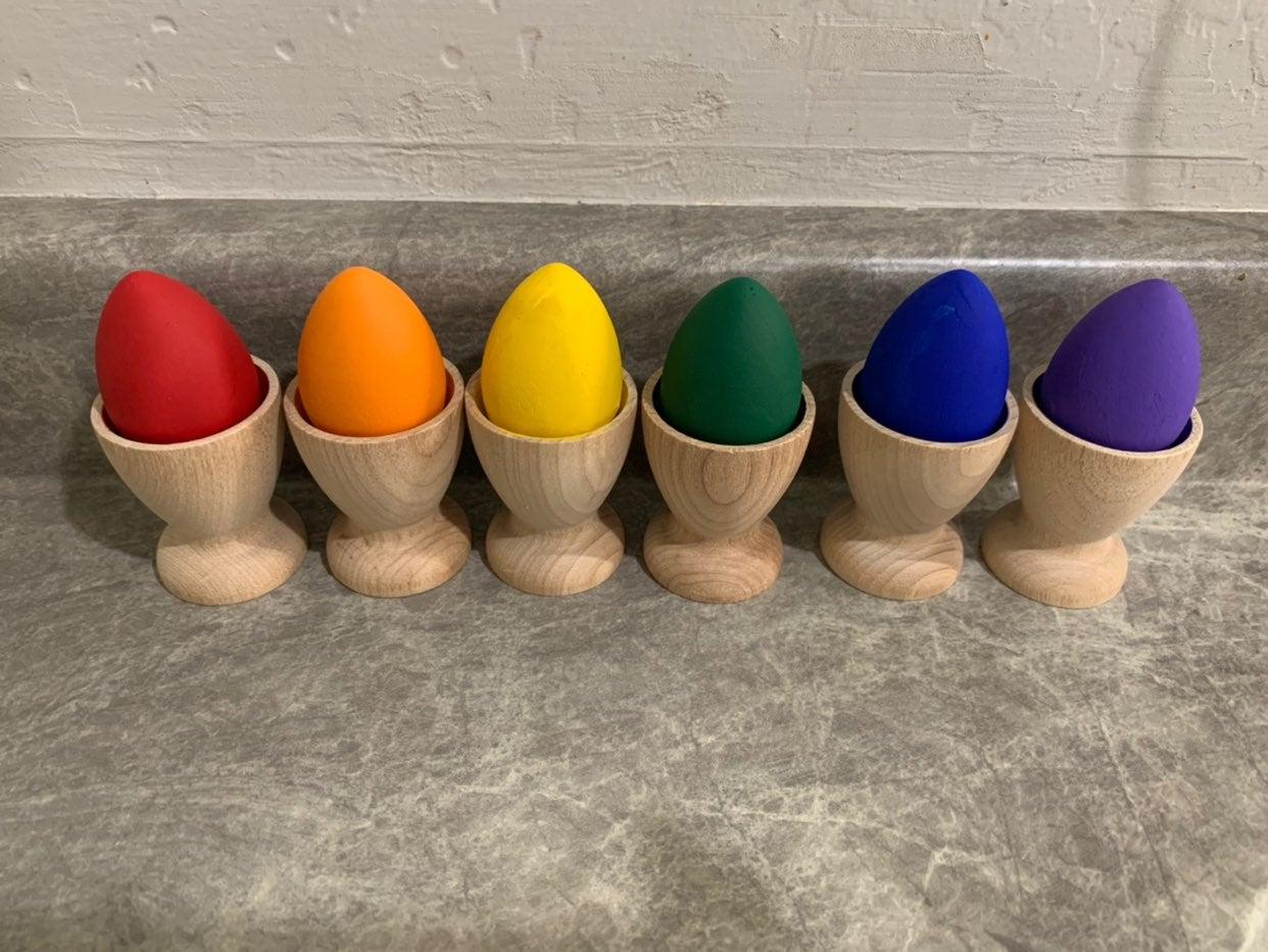 Montessori rainbow egg sorting& stacking